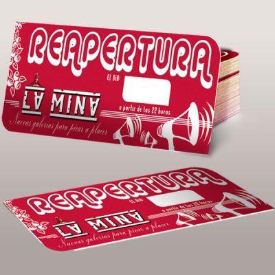Diseño grafico de tarjeton bar la mina en Torrelodones